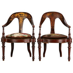 Pair of 19th Century Mahogany Spoon Back Chairs