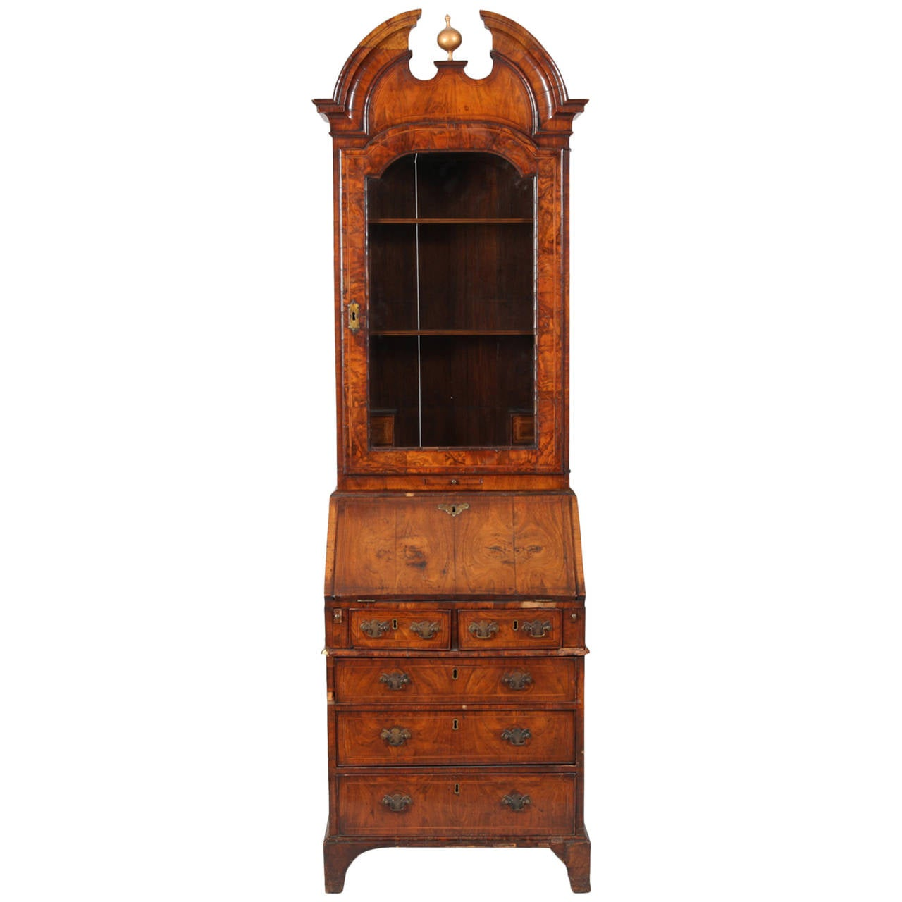 queen anne bureau bookcase in figured walnut at 1stdibs. Black Bedroom Furniture Sets. Home Design Ideas