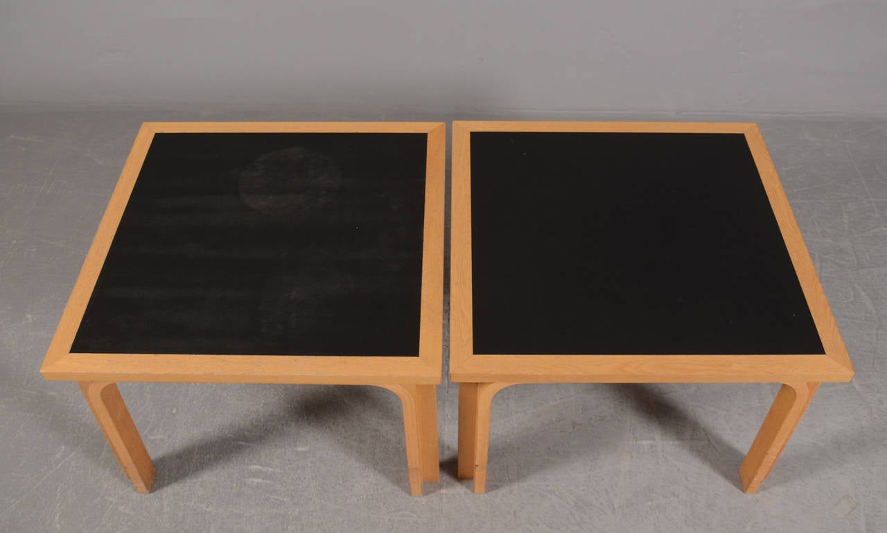 Mid-Century Modern Pair of Danish Beechwood and Ebonized Low Tables by Thygesen and Sorensen For Sale