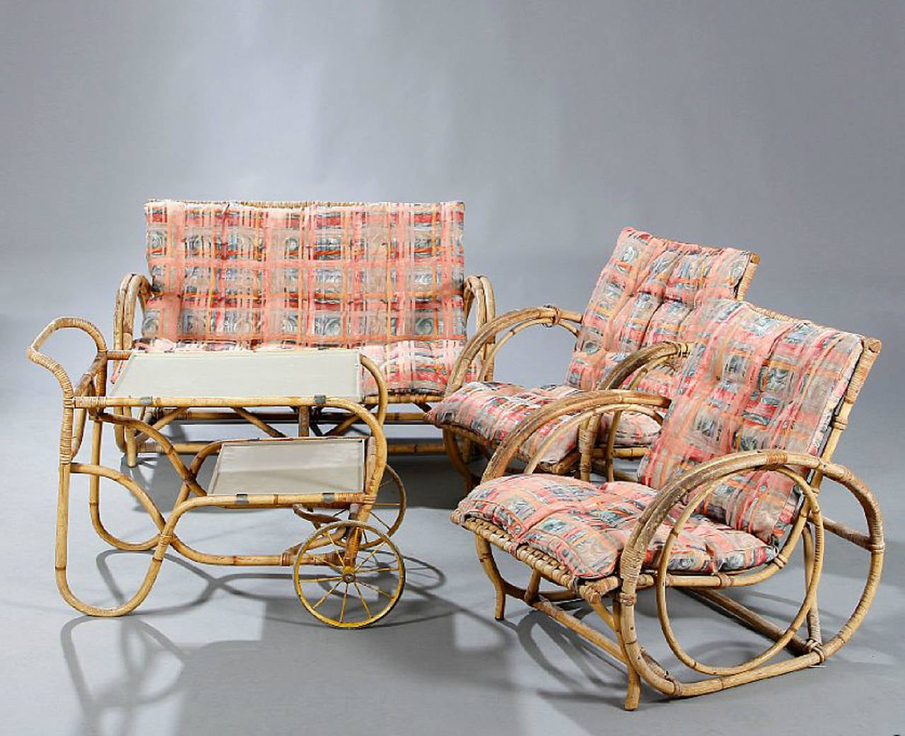 Set Of 1940s 1950s Danish Rattan Set Of Furniture At 1stdibs