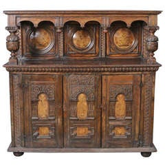 Jacobean Style Inlaid and Carved Court Cupboard