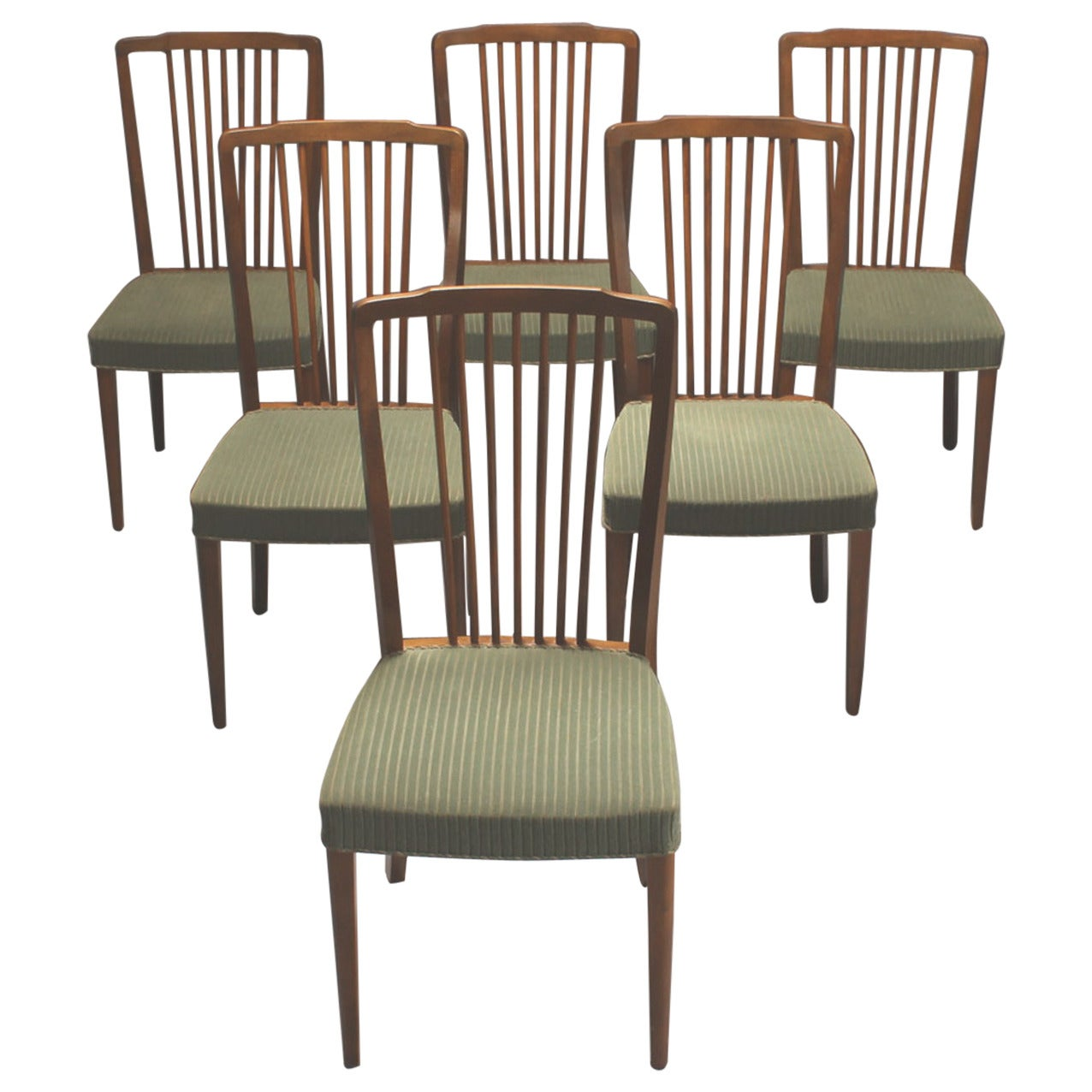 Set of Six 1940s Danish Spindle Back Dining Chairs 1. Set of Six 1940s Danish Spindle Back Dining Chairs For Sale at 1stdibs