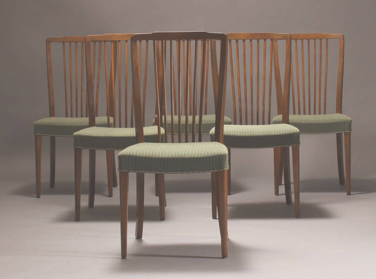 Set of Six 1940s Danish Spindle Back Dining Chairs at 1stdibs