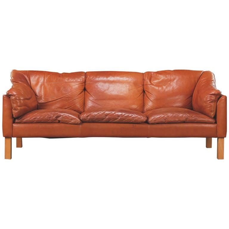 Danish Modern Leather Three Seat Sofa At 1stdibs