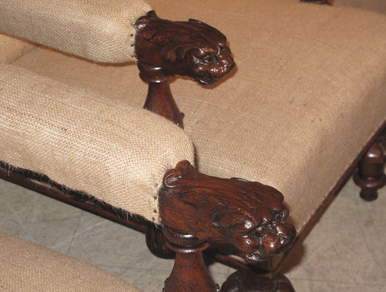 Pair of Large 19th Century Slope Back Armchairs with Lion Head Carvings In Good Condition For Sale In Hudson, NY