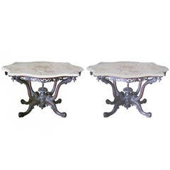 Pair of Anglo-Indian 19th Century Finely Carved Center Tables