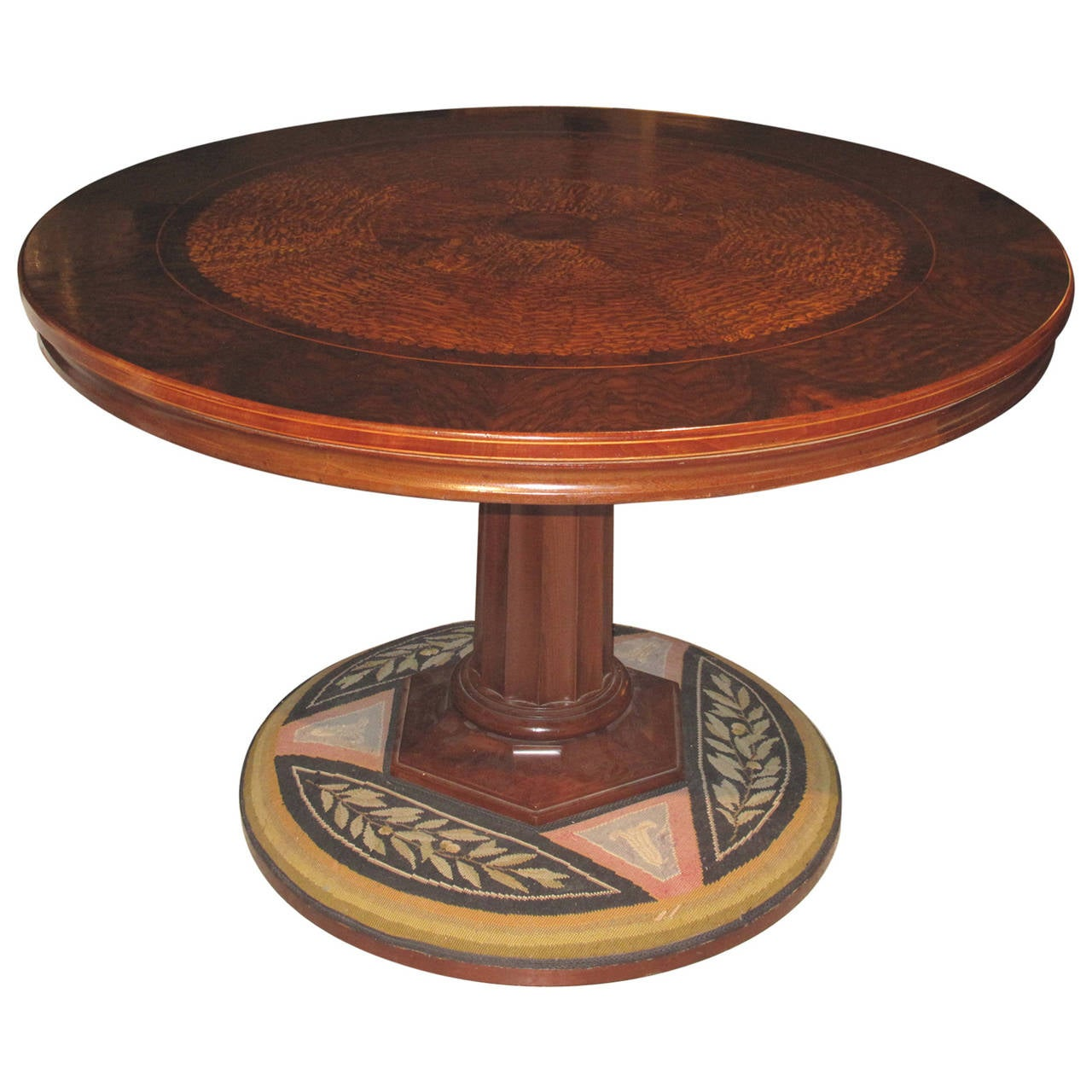 19th Century Danish Center Table with a Fine Root Wood Inlaid Top