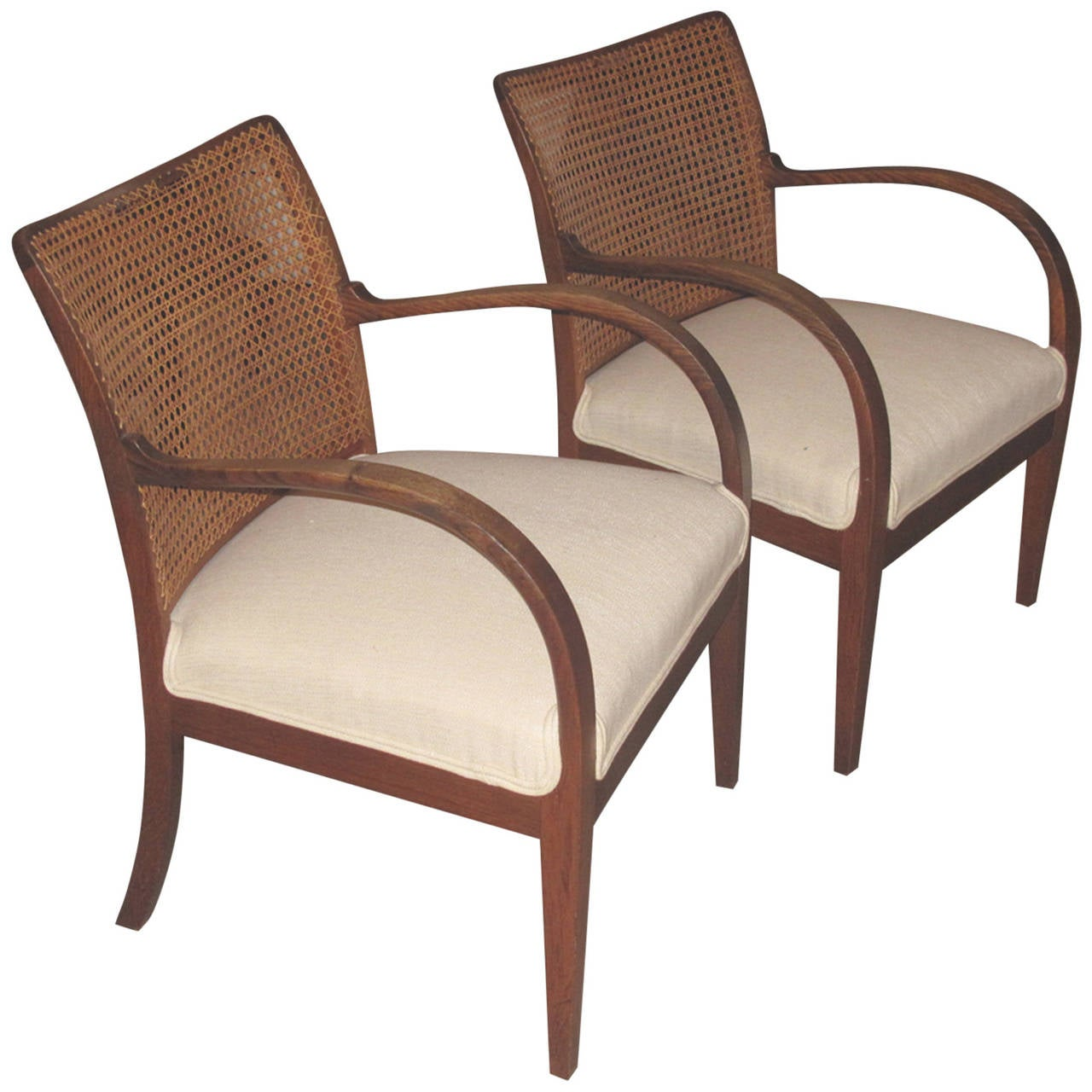 Pair of Danish Caned Back Armchairs in the Manner of Frits Henningsen