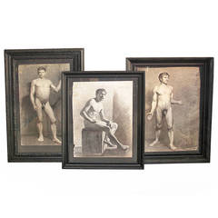 Five 19th Century Danish Academic Nude Drawings of Men