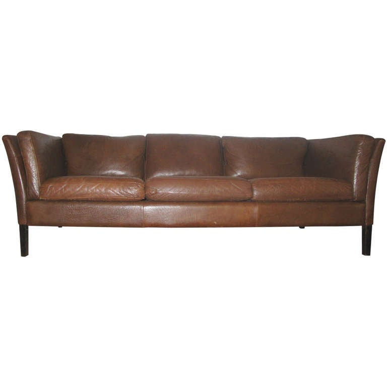 danish modern sofa upholstered in brown leather at 1stdibs