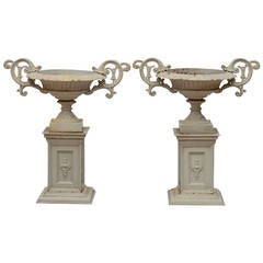 Good Quality Pair of Cast Iron Victorian Urns on Pedestals