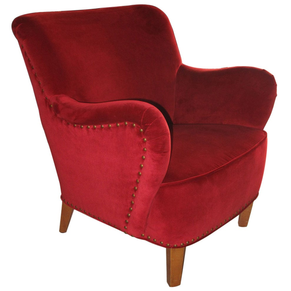 Red velvet chair - Danish 1930s 1940s Club Chair Upholstered In Close Nailed Red Velvet 1