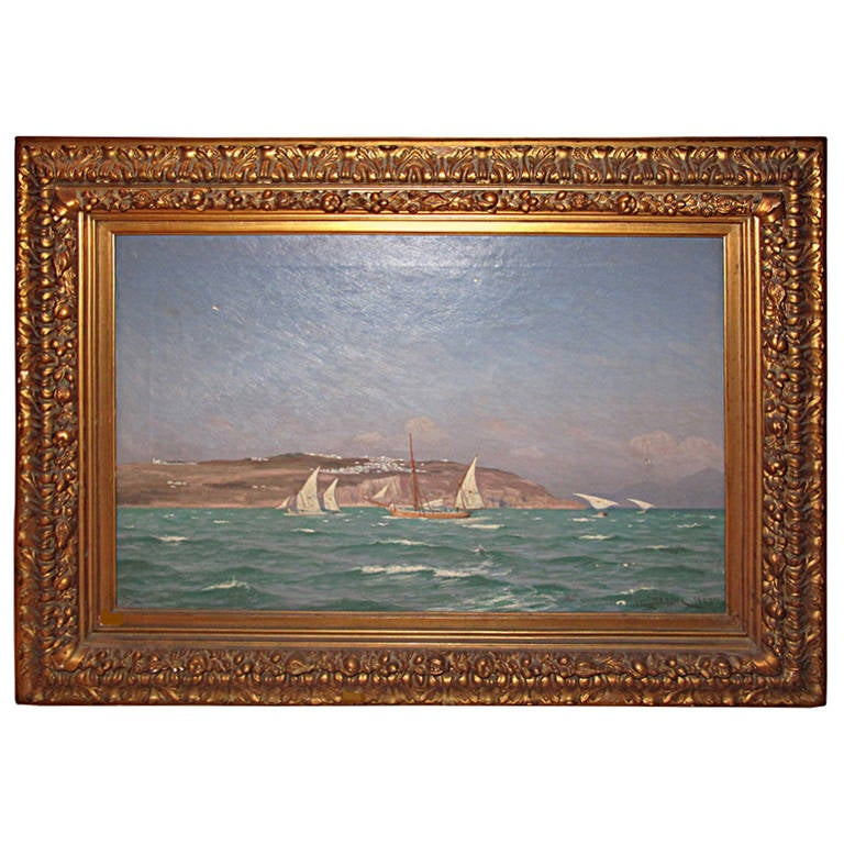 Danish 19th Century Seascape Painting by Viggo Helsted