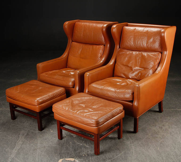 Pair of Scale Danish Modern Leather Wing Chairs and