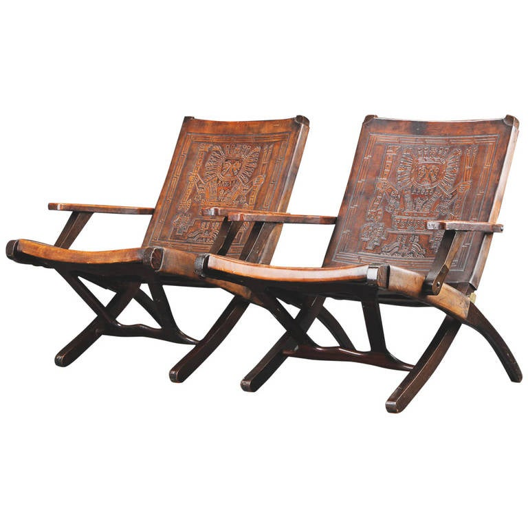 Bon Pair Of 1970s Peruvian Embossed Leather Folding Chairs For Sale