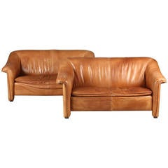 Pair of Danish 1970s Leather Upholstered Loveseats