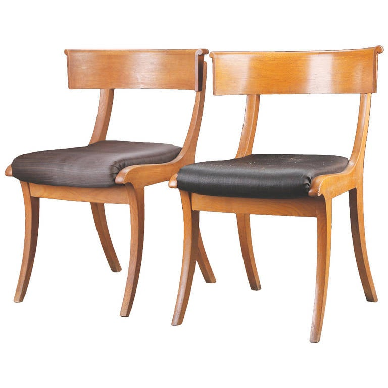 Pair of Danish 19th Century Oak Klismos Chairs For Sale