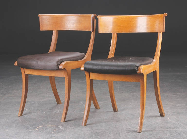 Pair of Klismos side chairs with horsehair upholstery.