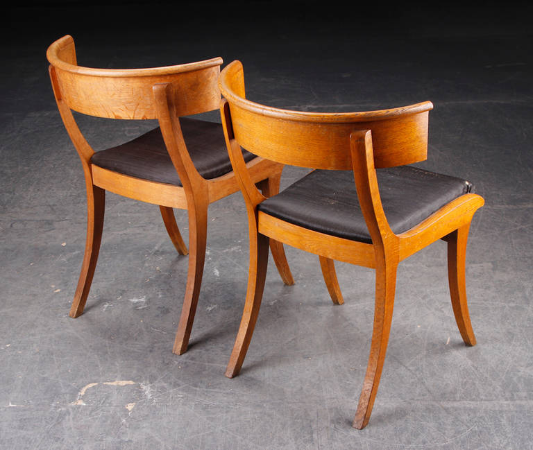 Pair of Danish 19th Century Oak Klismos Chairs For Sale 1