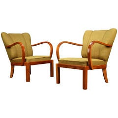 Pair of 1930s-1940s Danish Modern Elm Armchairs