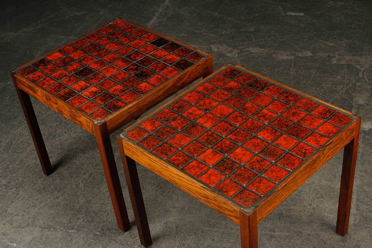 Pair Of 1960s Danish Modern Side Tables With Inlaid Tile Tops 3