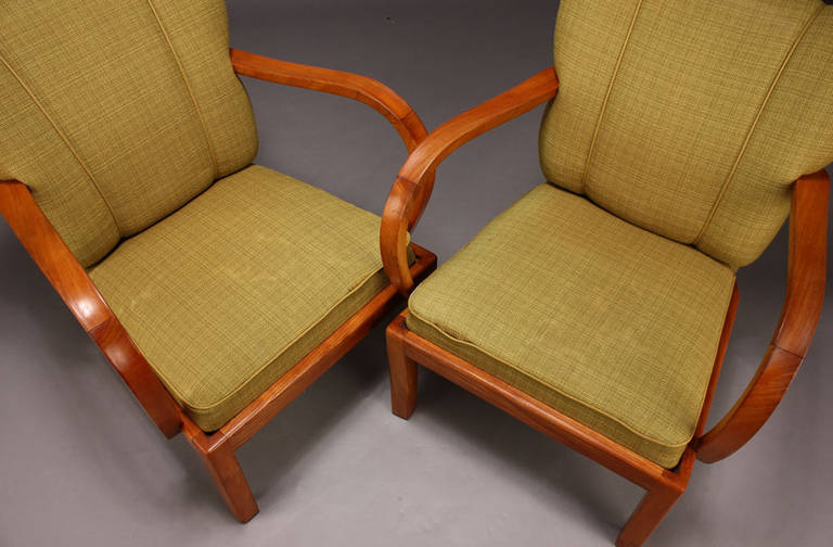 Upholstery Pair of 1930s-1940s Danish Modern Elm Armchairs For Sale