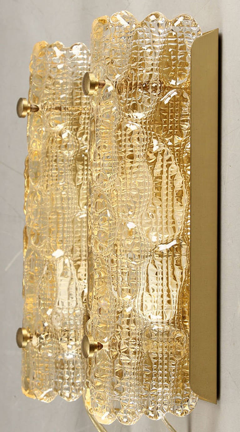 Mid-Century Modern Pair of Gold Textured Glass Wall Sconces by Orrefors For Sale