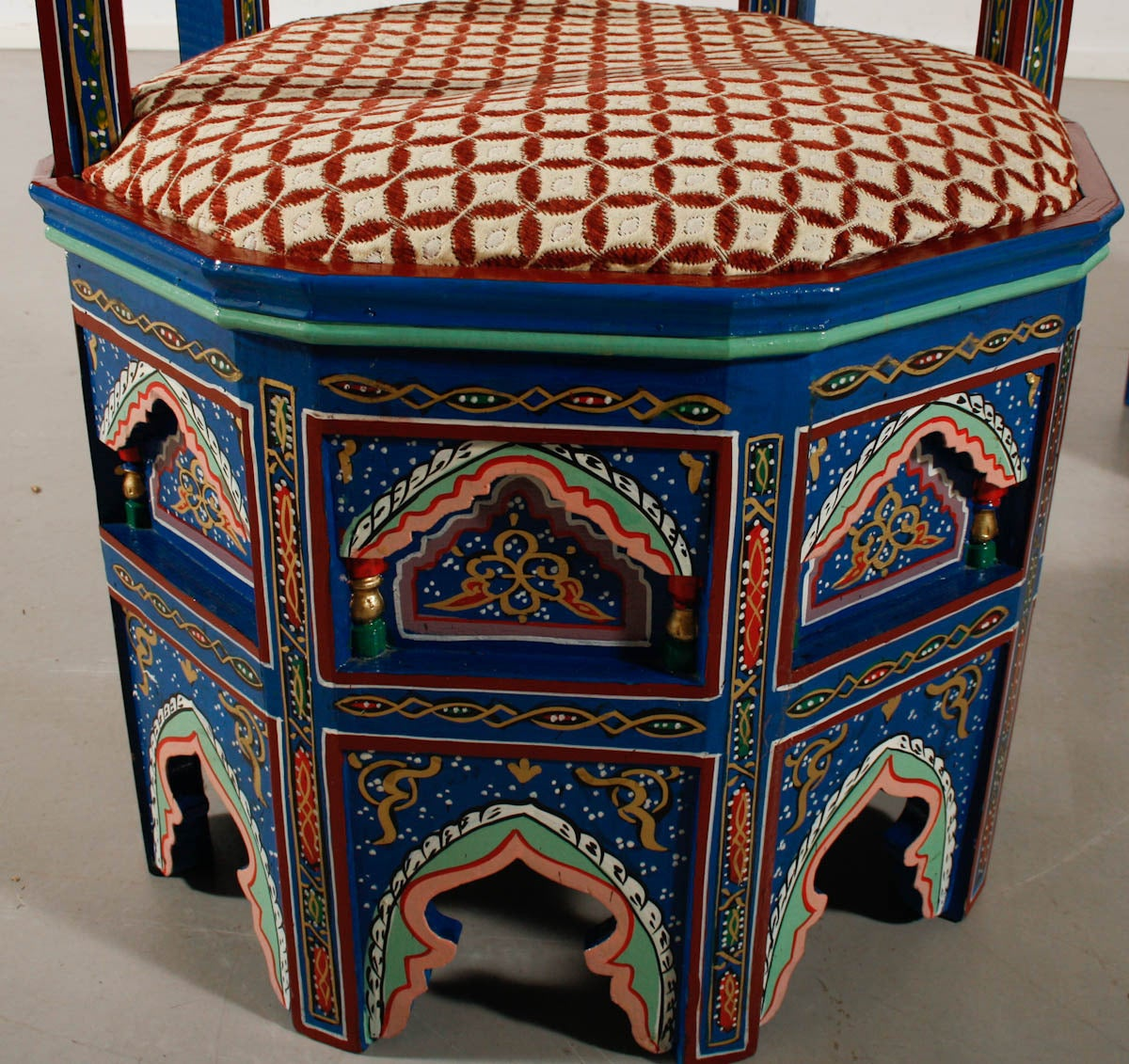 Pair of moroccan painted and gilded chairs at 1stdibs for Moroccan hand painted furniture