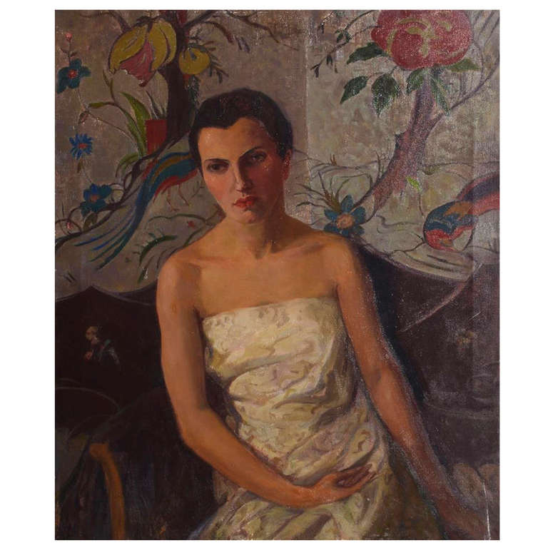 American Early 20th Century Painting of Woman in a White Gown