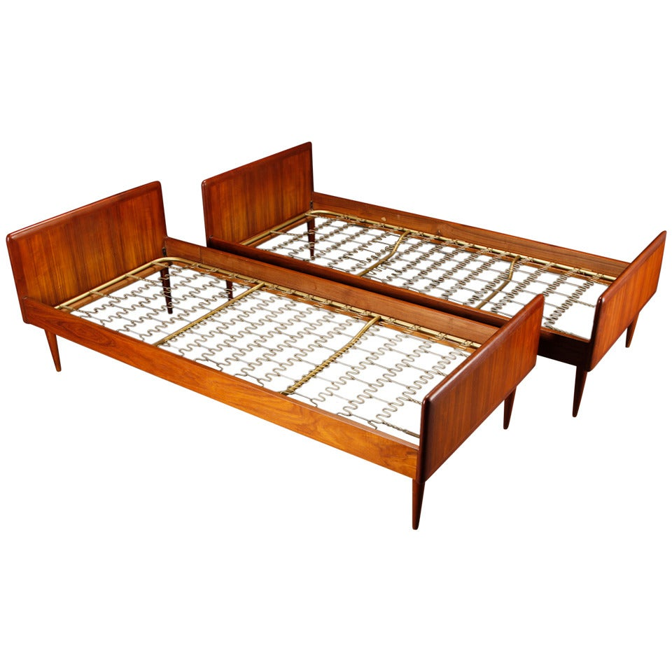 Pair of Danish Modern Early 1960s Teak Single Beds at 1stdibs