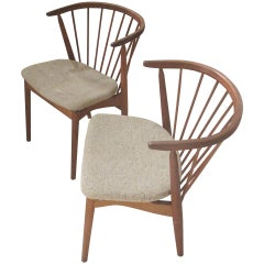 Pair of Danish Spindle-Back Teak Chairs by Helge Sibast, 1950s-1960s