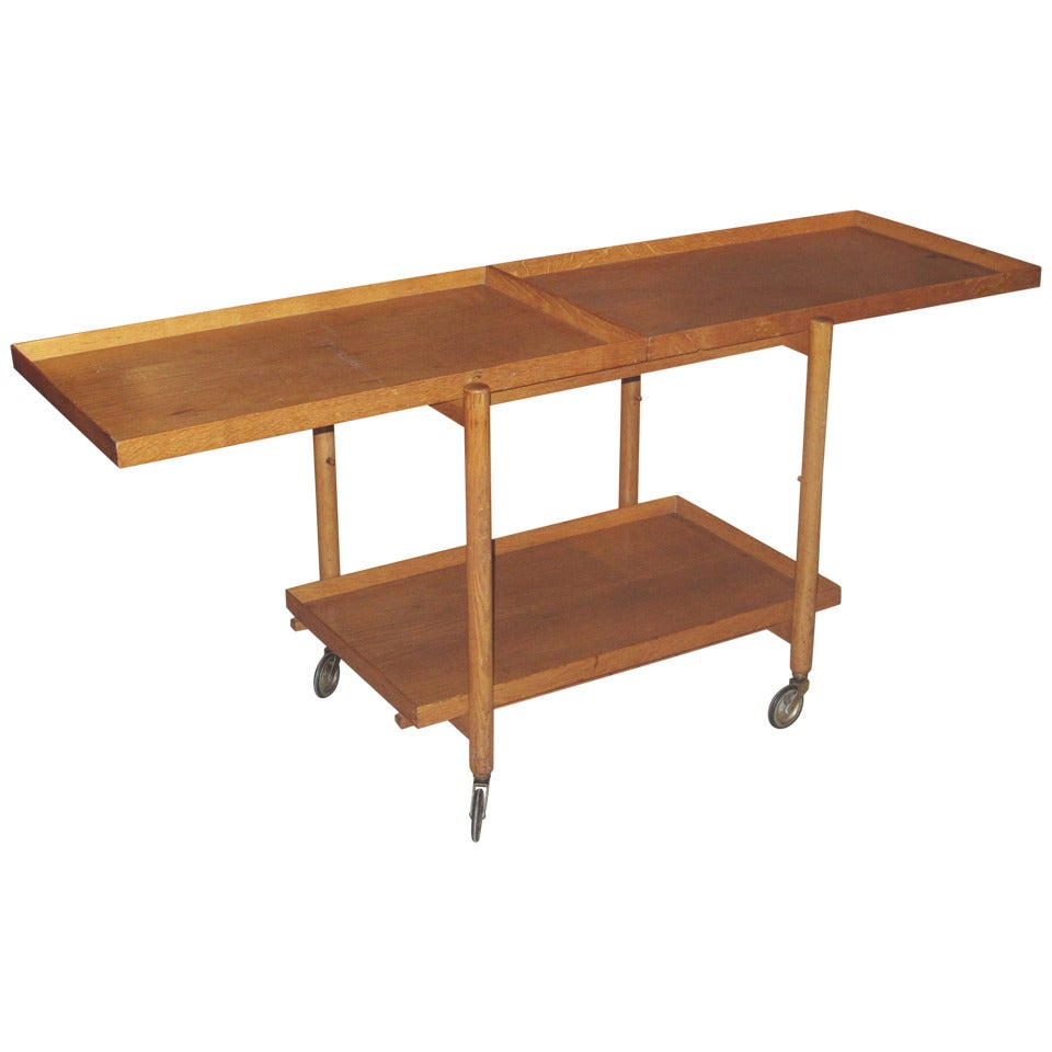 Danish 1950 1960 Adjustable Oak Trolley Or Tray Table 1