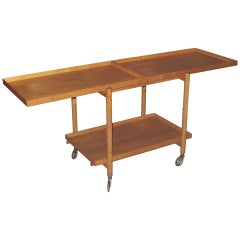Danish 1950-1960 Adjustable Oak Trolley or Tray Table