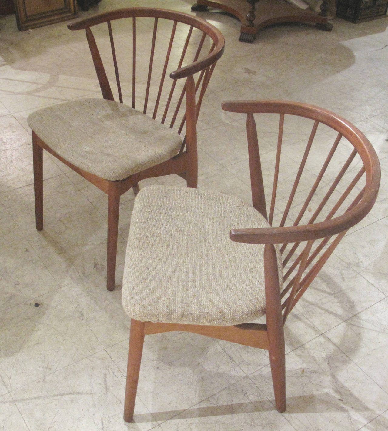 Picture of: Pair Of Danish Spindle Back Teak Chairs By Helge Sibast 1950s 1960s For Sale At 1stdibs