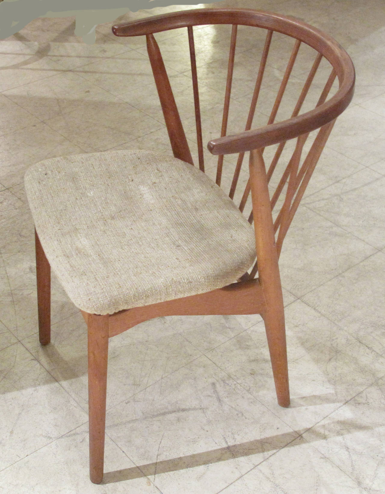 Pair of Danish Spindle Back Teak Chairs by Helge Sibast 1950s