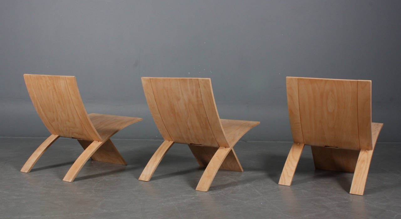 Three Danish Laminex Folding Chairs by Jens Nielsen In Good Condition For Sale In Hudson, NY