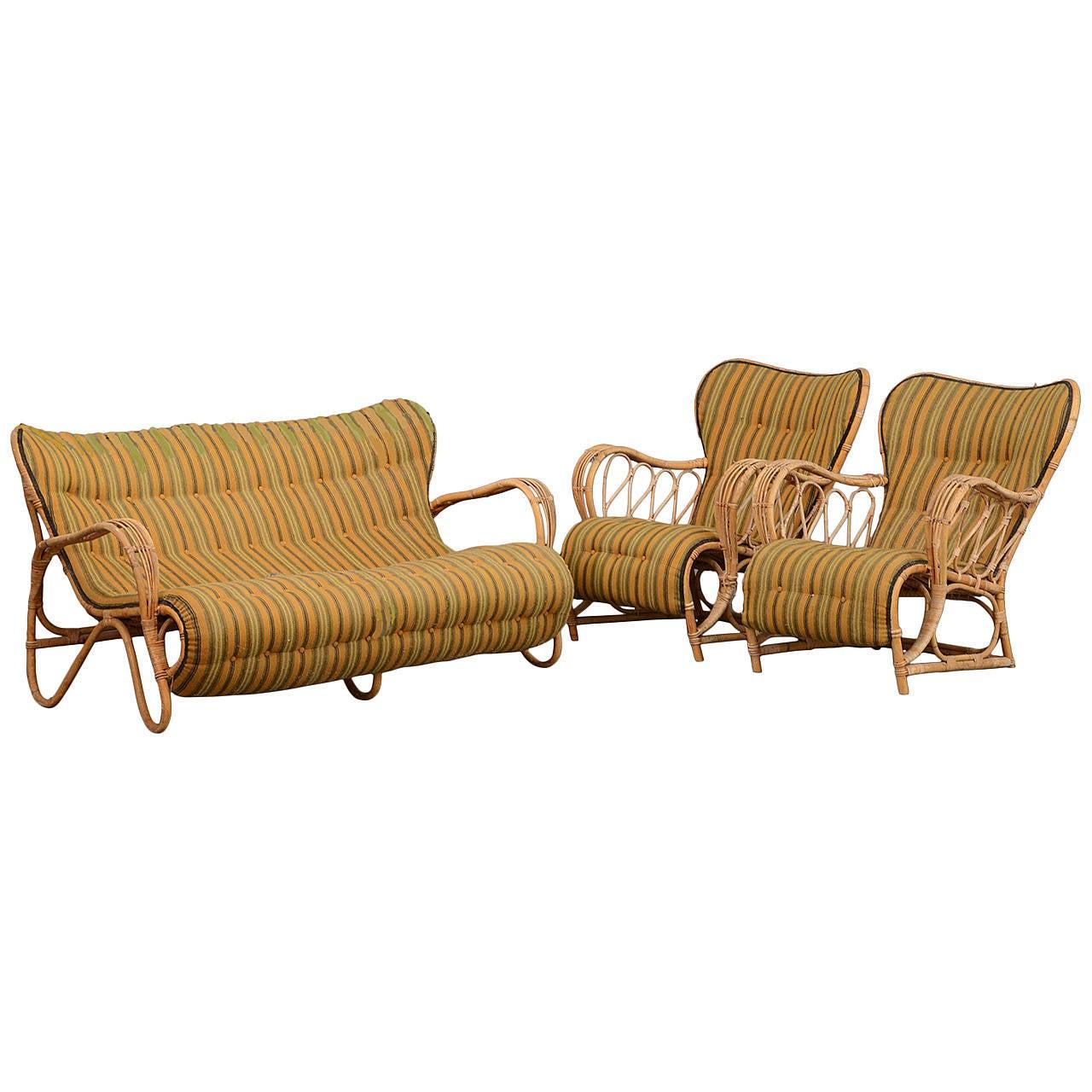 Set Of 1940s 1950s Danish Rattan Sofa And Armchairs At 1stdibs