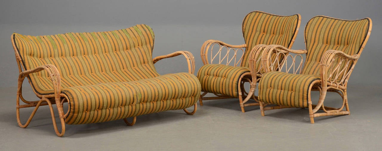 Set of 1940s 1950s danish rattan sofa and armchairs for - Rattan living room furniture for sale ...