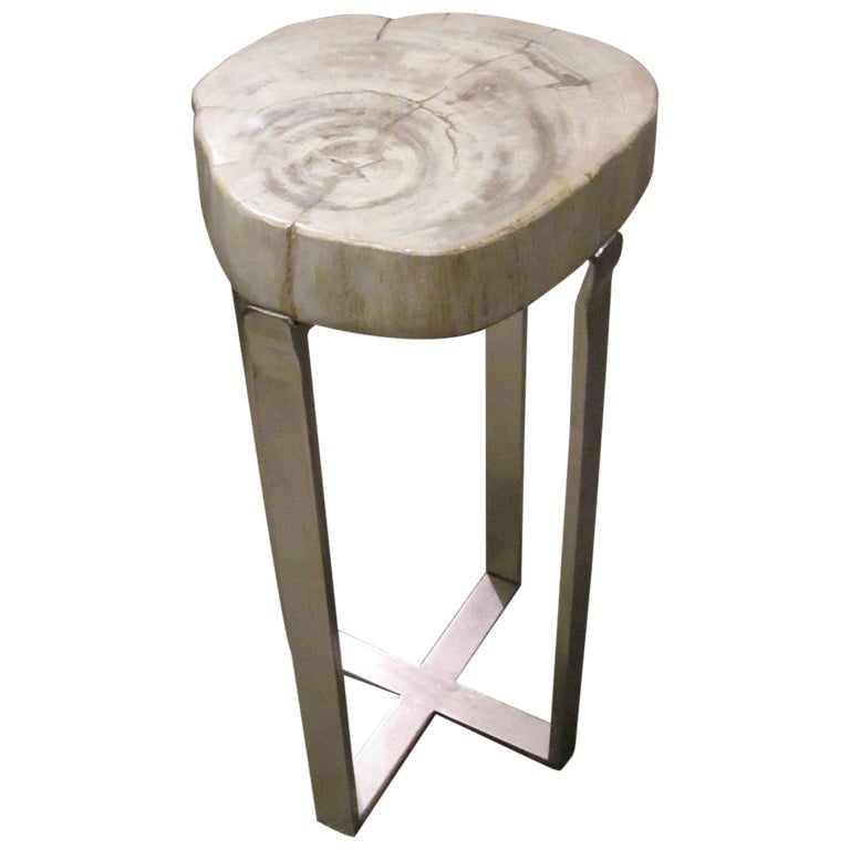 petrified wood small side table at 1stdibs