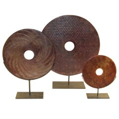 Chinese  Set of 3 Jade Discs