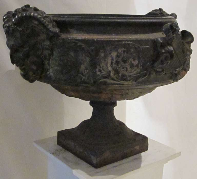 French 19th Century Weathered Bronze Urn, France For Sale