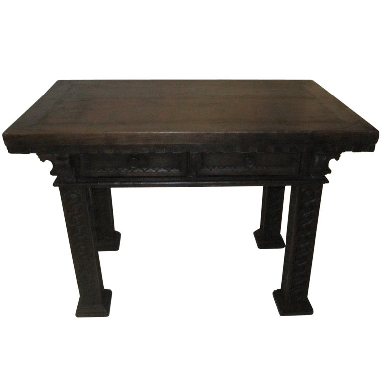 Hall Side Table 19th c. tuscan dark wood carved legs center hall/side table at 1stdibs