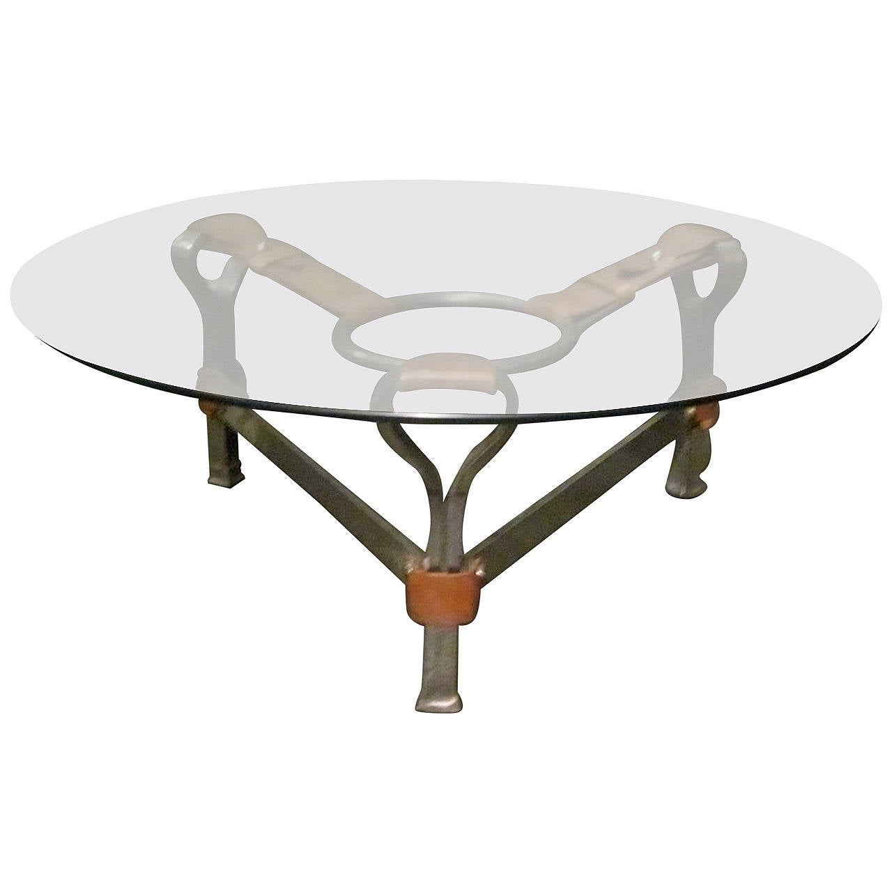 1970s Leather And Steel Base Round Glass Top Coffee Table Belgium At 1stdibs