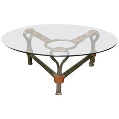 1970s Leather and Steel Base-Round Glass Top Coffee Table, Belgium