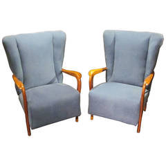 Mid-Century Pair of Upholstered Blue High Back Chairs, Italy, 1960s