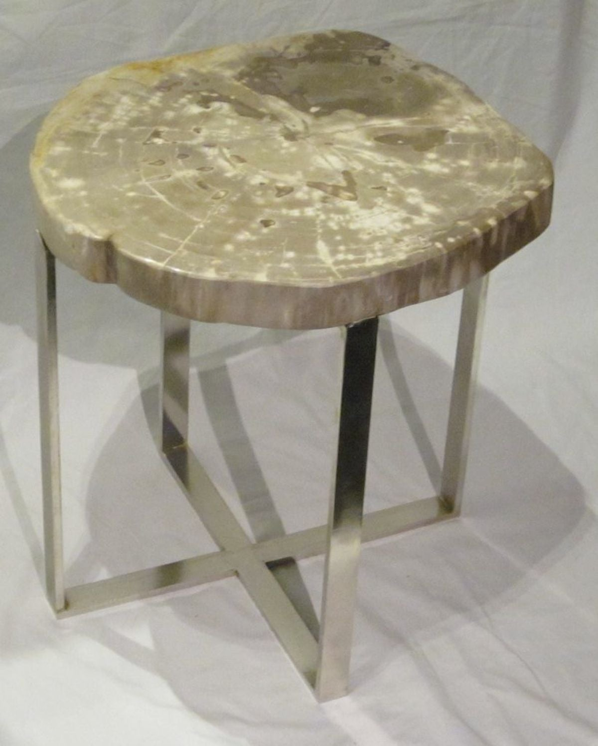 Petrified Wood Slice Side Table For Sale at 1stdibs