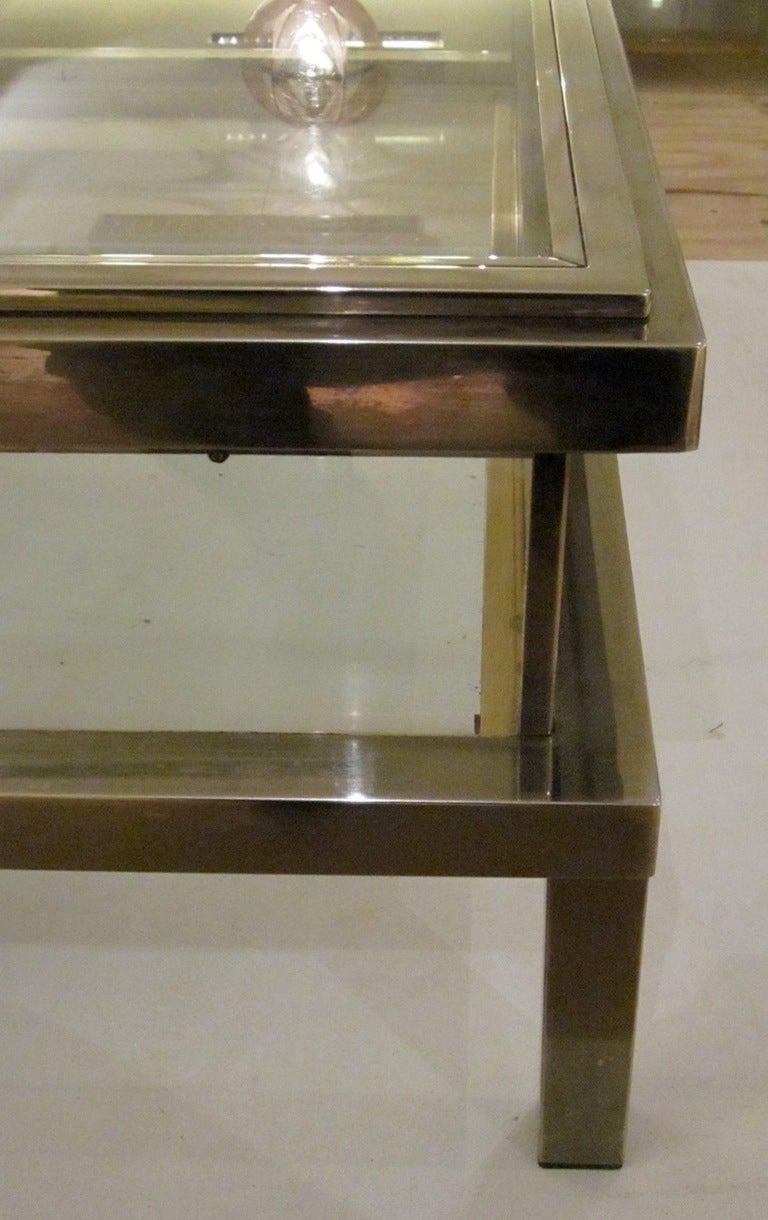 1960 39 s maison jansen chrome and glass vitrine coffee table for Table vitrine