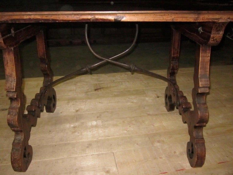 19th Century Italian Walnut Side Table with Iron Cross Bar Base For Sale 2