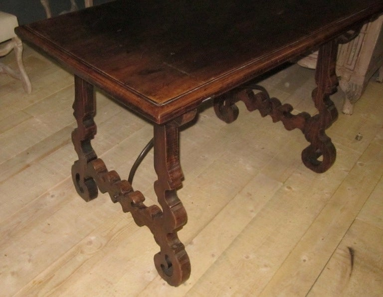19th Century Italian Walnut Side Table with Iron Cross Bar Base For Sale 3