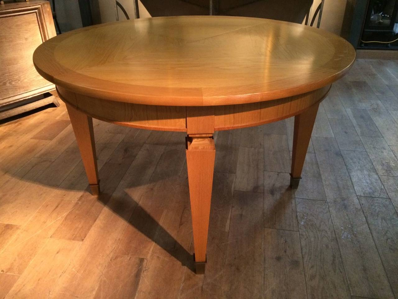 Round Dining Table, Ash Veneered, With Two Leaves And Brass Sabots, French,